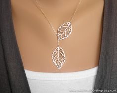 Leaf Lariat Necklace, Silver Leaf Pendants on fine Sterling Silver Chain, simple delicate jewelry, great gift