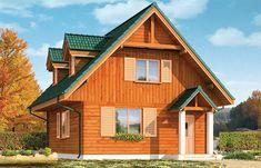 Projekt domu z poddaszem D03 Grześ drewniany o pow. 84,66 m2 z dachem dwuspadowym, z tarasem, sprawdź! Cabana, Small Farmhouse Plans, Small Wooden House, Design Case, Home Fashion, Home Interior Design, Shed, Outdoor Structures, House Design