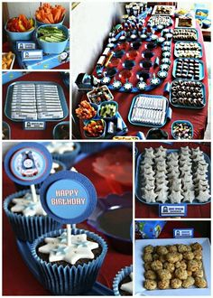 Popcorn in cups.  Fun Shaped Sandwiches.  Veggie Sticks  Jello (Red and Blue)  Cupcakes on a train track  Candy bars with personalized wrappers  Chicken Nuggets