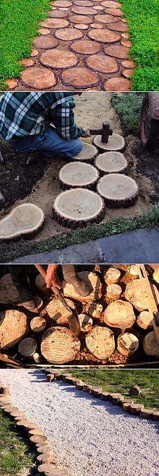Дорожки для сада из распиленных деревьев — 6 соток