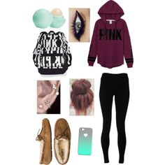 me today! lazy friday!!! by bethany-noel on Polyvore featuring polyvore fashion style Victoria's Secret PINK Solow UGG Australia Eos