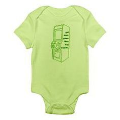 """got game body suit/onesie (green version: says """"got more game than any arcade."""") > $15.49US > babybitbyte (cafepress.com/babybitbyte) #cafepress #babybitbyte #nerd #nerdy #geek #geeky #arcade #joystick #retro #arcadecabinet #gamer #gamers #game #gotgame #funny #lol #humor #videogame #videogames"""