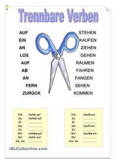 Risultati immagini per trennbaren verben Study German, German English, Learn German, German Grammar, German Words, German Resources, Deutsch Language, German Language Learning, Language Activities