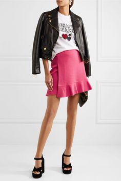 Boutique Moschino - Buckled Crepe Mini Skirt - Fuchsia - IT40