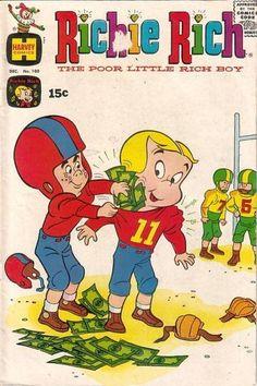 Richie - Poor Little Rich Boy - Money - Football - Padding Old Comic Books, Vintage Comic Books, Vintage Comics, Comic Book Covers, Vintage Posters, Cartoon Books, Cartoon Characters, Richie Rich Comics, Children's Comics