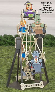 Halloween Ferris Wheel and Riders Plan Set Dracula and his monster friends are having fun before their big night out!! Watch it in action now! #diy #woodcraftpatterns