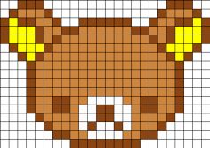Free Rilakkuma Bear Cross Stitch Chart or Hama Perler Bead Pattern