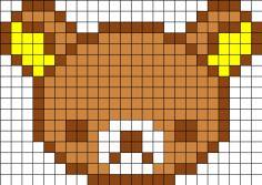 Free Rilakkuma Bear Cross Stitch Chart or Hama Perler Bead Pattern