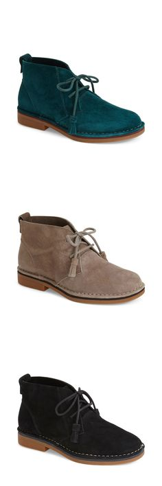 Want this suede chukka boot in all 8 colors for fall! Love the modern style, detail of the tasseled laces and contrast stitching keep it on-trend. Still really comfortable and durable with the rubber sole.