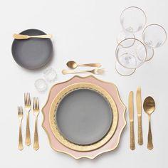 Anna Weatherley Chargers in Desert Rose + 24k Gold Glass Dinnerware + Heath Ceramics in Indigo/Slate + Chateau Flatware + Gold Rimmed Stemware + Antique Crystal Salt Cellars | Casa de Perrin Design Presentation