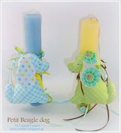 Fabric, soft toy, Petit Beagle dog,   Αρωματική Πασχαλινή λαμπάδα, Υφασμάτινο σκυλάκι