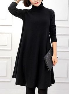 Cotton Solid Long Sleeve Knee-Length Dresses (1106468) @ floryday.com  https://www.floryday.com/Cotton-Solid-Long-Sleeve-Knee-Length-Dresses-m1106468