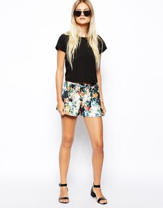 Asos, Love those shorts with that little black top.  The sandals dress up the look.