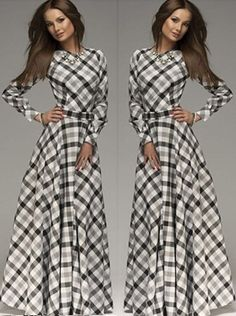 Buy Casual Plaid Long Sleeves A Line Maxi Dress Maxi Dresses under US$ 19.99 only in SimpleDress.