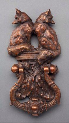 Sandy Scott, Sculptor.  Two Fox Door Knocker