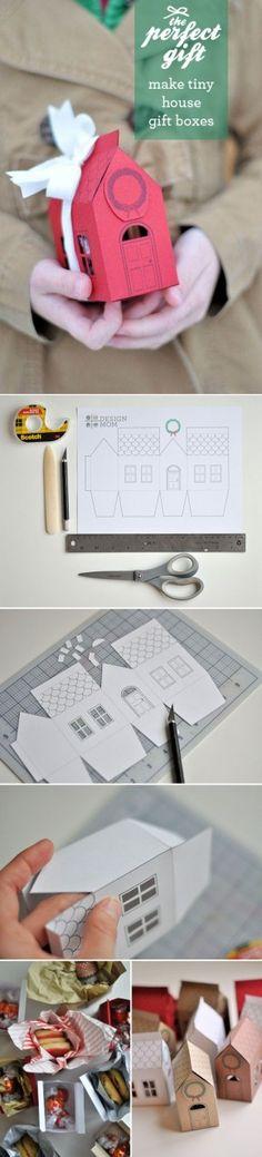 Zelf een huisje maken en er een klein kadootje in doen. Bouwplaat op pinterest.