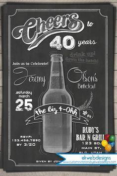 Cheers and Years - Beer Birthday Invitation - Chalkboard