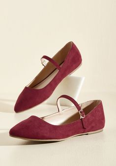 All You've Ever Jaunted Flat in Wine - Red, Solid, Work, Casual, Graduation, Minimal, Fall, Winter, Flat, Good, Mary Jane, Variation, Red, Saturated