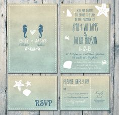 Digital - Printable Files - Double-sided - Seahorses and Blue Sand Beach Wedding Invitation and Reply Card Set - Wedding Stationery - ID168N...