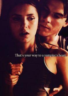 The way to a vampire's heart. So hot ;) Delena. Season 3. The Vampire Diaries. <3