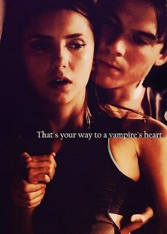 The way to a vampire's heart. So hot ;) Delena. Season 3. The Vampire Diaries. <3