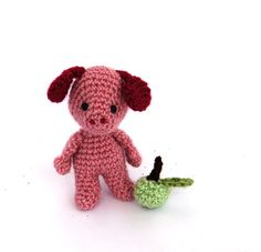 amigurumi pink pig crochet toy animal pig doll stuffed pig
