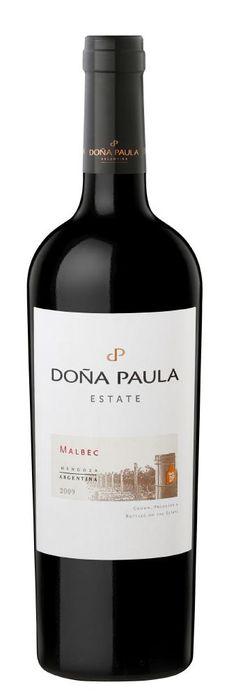 Dona Paula Malbec Estabelece docemente perfumado e vinho sabor de ervas forma suave