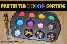 Mamas Like Me: Muffin Tin Color Sorting - great for older #kids while siblings are napping!  #education #learning colors #fine motor skills