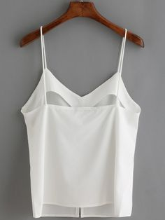 White Spaghetti Strap Buttons Cami Top