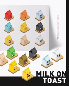 A collection of uniquely designed graphical characters. Milk on toast boasts a perspective grid which opens up a new dimension to the art-board. These quirky milk cartons are fully layered, flexible and ready to drop into your project.  ⚡️⚡️⚡️⚡️⚡️  Available for download on #envatoelements and #creativemarket.   See link in bio  .  •   #graphicdesign #design #art #graphic #designers #creative #creatives #artoftheday #picoftheday #digitalart #graphic #graphicart #vectorart #visualst...