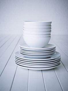 FÄRGRIK dinnerware set - white/stoneware - IKEA Replacement for old dishes