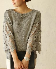 My Flowers and Pearls Sweater in Pink - Sweaters - Tops - Retro, Indie and Unique Fashion Pull Crochet, Knit Crochet, Pullover Upcycling, Knit Fashion, Womens Fashion, Diy Vetement, Sweater Refashion, Knitting Designs, Pulls