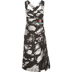 Prada Wrap-effect printed satin-twill midi dress ($1,740) ❤ liked on Polyvore featuring dresses, satin midi dress, calf length dresses, midi dress, wrap around dress and wrap dress