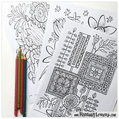 Quirky Botanicals 5 - a printable 3 page Colouring Booklet by Floating Lemons at Etsy.