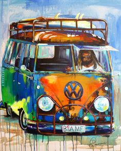 Original acrylic painting of old local rusty VW by DeniseMorencie etsy. VW bus van art hippie