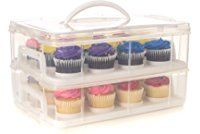 24 Large Cupcake Carrier, Two Tiered Holder, Cake Carrier, Stack and Store Cake Carrier Cupcake Carrier, Shelf Holders, Space Saving Shelves, Buy Cake, Frosting Recipes, Cake Holder, Food Storage Containers, Box Storage, Large Cupcake