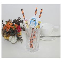 Personalized Halloween Paper Straws with Printed Tags