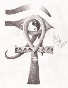 Egyptian Ankh and Eye of Horus Yin-Yang by Miss-Cellaneous23 - funny because it's actually an Eye of Ra