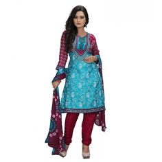 Fashionx Blue Printed Crepe unstitched dress material