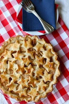 I love this apple pie recipe, but also think the idea of cutting out shapes for the top crust is really creative.