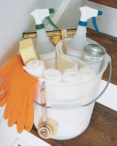 Save Time with a Spring-Cleaning Bucket - For easier spring-cleaning, fill a bucket with basics that need to be toted from room to room: all-purpose and glass-cleaning sprays, a sponge, a toothbrush, a squeegee, a scrub brush, hopsacking, and terry-cloth towels in washcloth and hand-towel sizes. Between tasks, hang rubber gloves over the rim to dry.