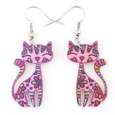 Drop Cat Earrings Dangle Long Acrylic Pattern
