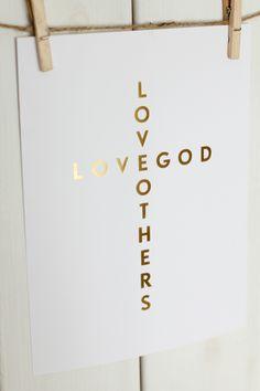 Love God Cross - Gold Foil #Print #illustration