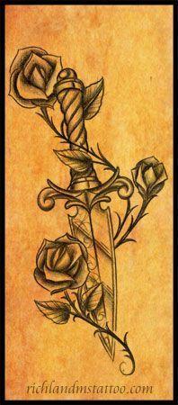 Dagger Rose Tattoo Design by jacksonmstattoo