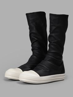Black and White Leather Sock High-Top Sneakers Rick Owens Z6wBMipv3