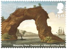Great Britain 2018 - Captain Cook and Endeavour - Mapping New Zealand: Maori Clifftop Fort Uk Stamps, Postage Stamps, Map Of New Zealand, Society Islands, Penny Black, Stamp Collecting, Post Office, British Isles, Countries Of The World