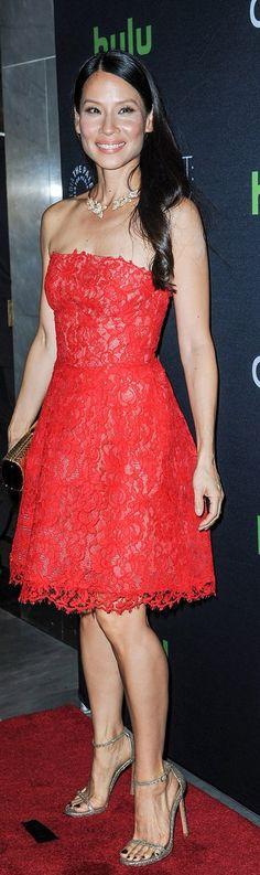 Lucy Liu: Dress – Monique Lhuillier  Jewelry – Pasquale Bruni  Shoes – Stuart Weitzman  Purse – Jimmy Choo