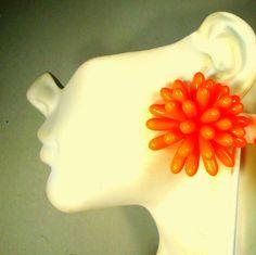 HOT Orange Cluster Earrings Fab Bright Flower by VintageStarrBeads