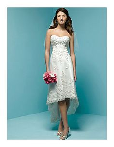 Affordable Sheath Sweetheart Petite Casual Asymmetrical High Low Bridal Wedding Dresses/ Reception Wedding Gowns with Beaded Applique