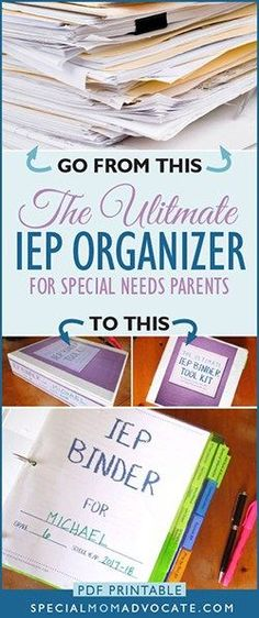 IEP Binder Tool Kit for Parents. The ultimate IEP Organizer. As I say in my book, Special Ed Mom Survival Guide, one of the most critical things a parent can do is organize all their paperwork so they can find everything they need at a moment's notice. #iep #specialeducation #specialneeds #specialed #specialedadvocate #specialneedsmom #education #autism #adhd #dyslexia #learningdisability